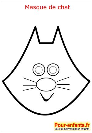 Imprimer masque de chat enfant carnaval mardi gras coloriage faire masques deguisement enfants - Chat coloriage masque ...
