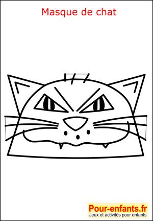 Masque de chat carnaval coloriage enfant fabrication masques faire deguisement enfants bricolage - Chat coloriage masque ...