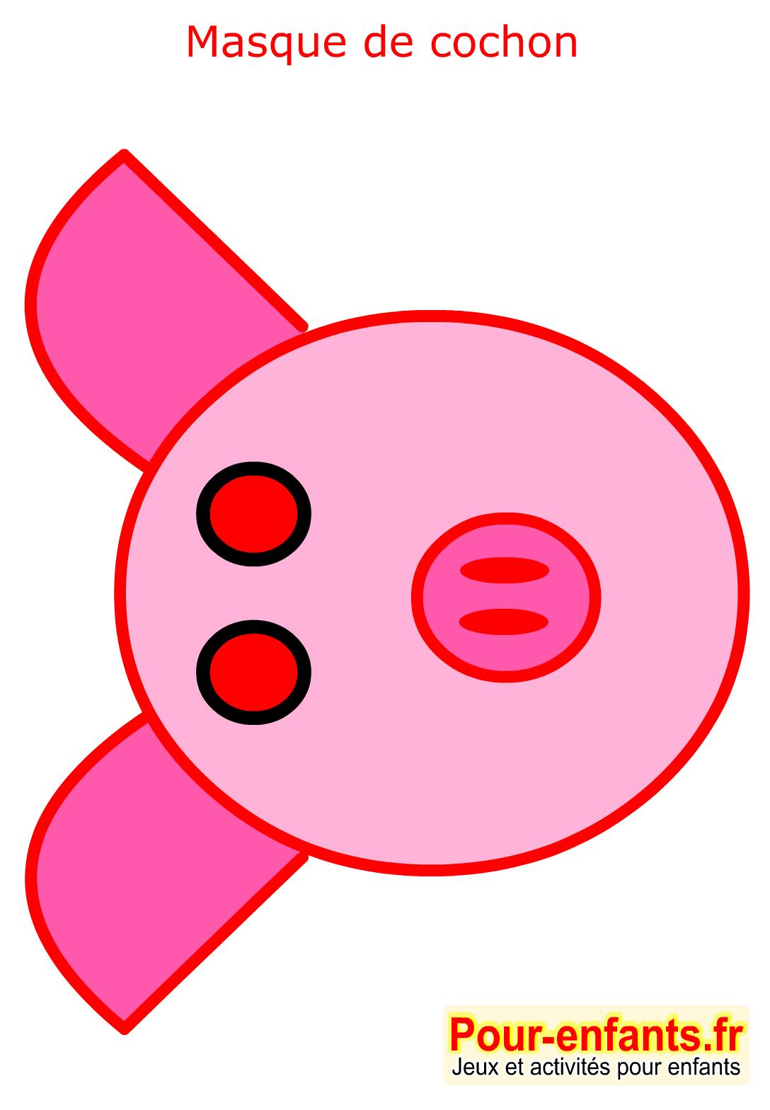 Masque de carnaval imprimer cochon enfant faire masques - Image de cochon a imprimer ...