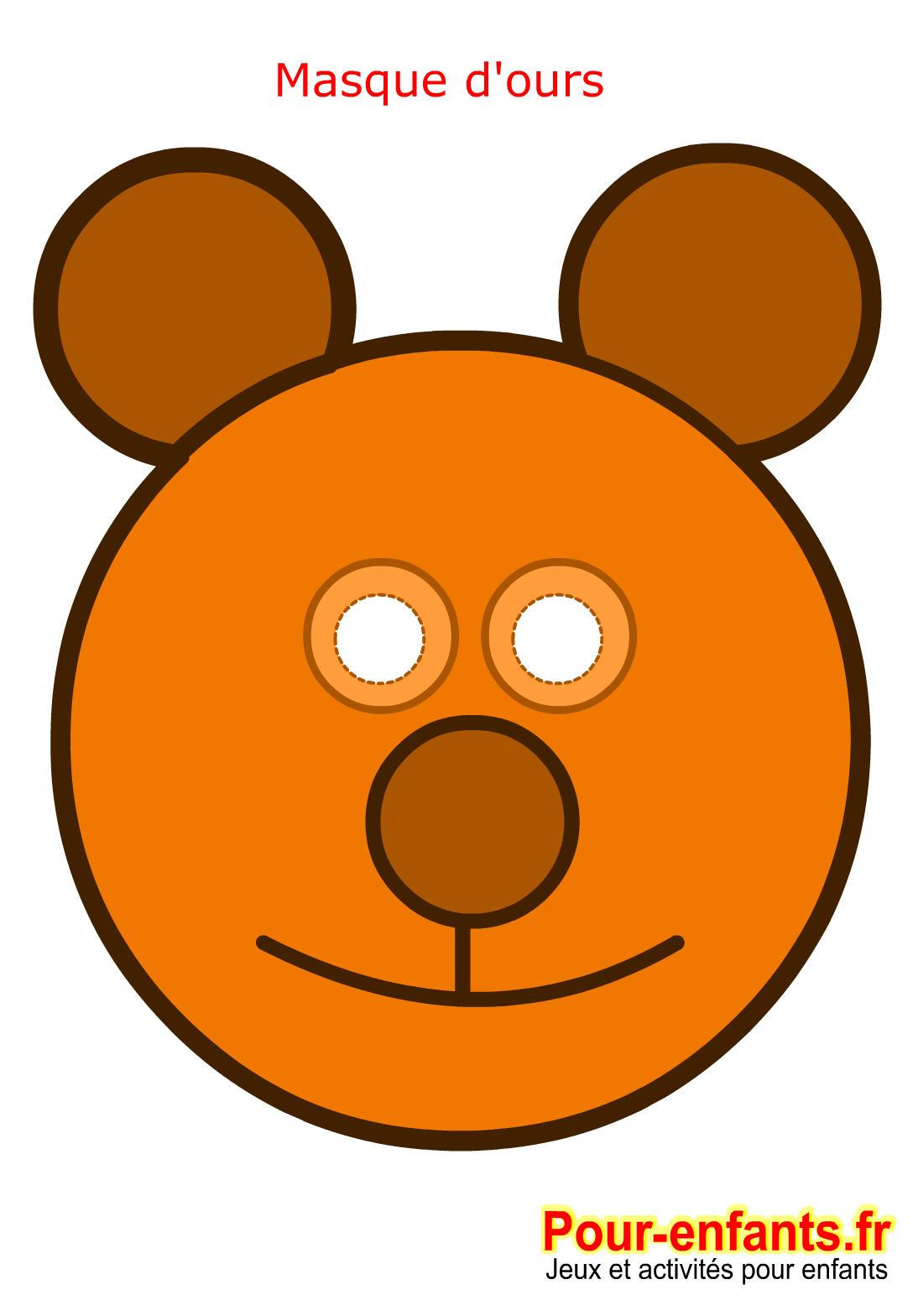 Imprimer ce masque de carnaval enfant - masque d'ours