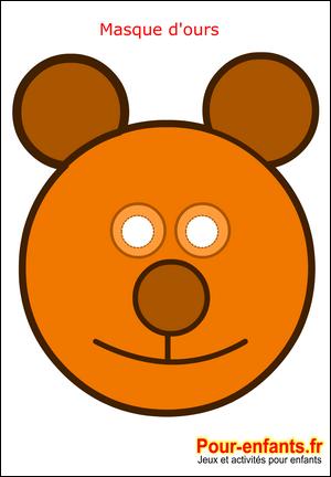 Masque de carnaval imprimer ours enfant faire masques deguisement enfants bricolage maternelle - Comment faire un masque en papier ...
